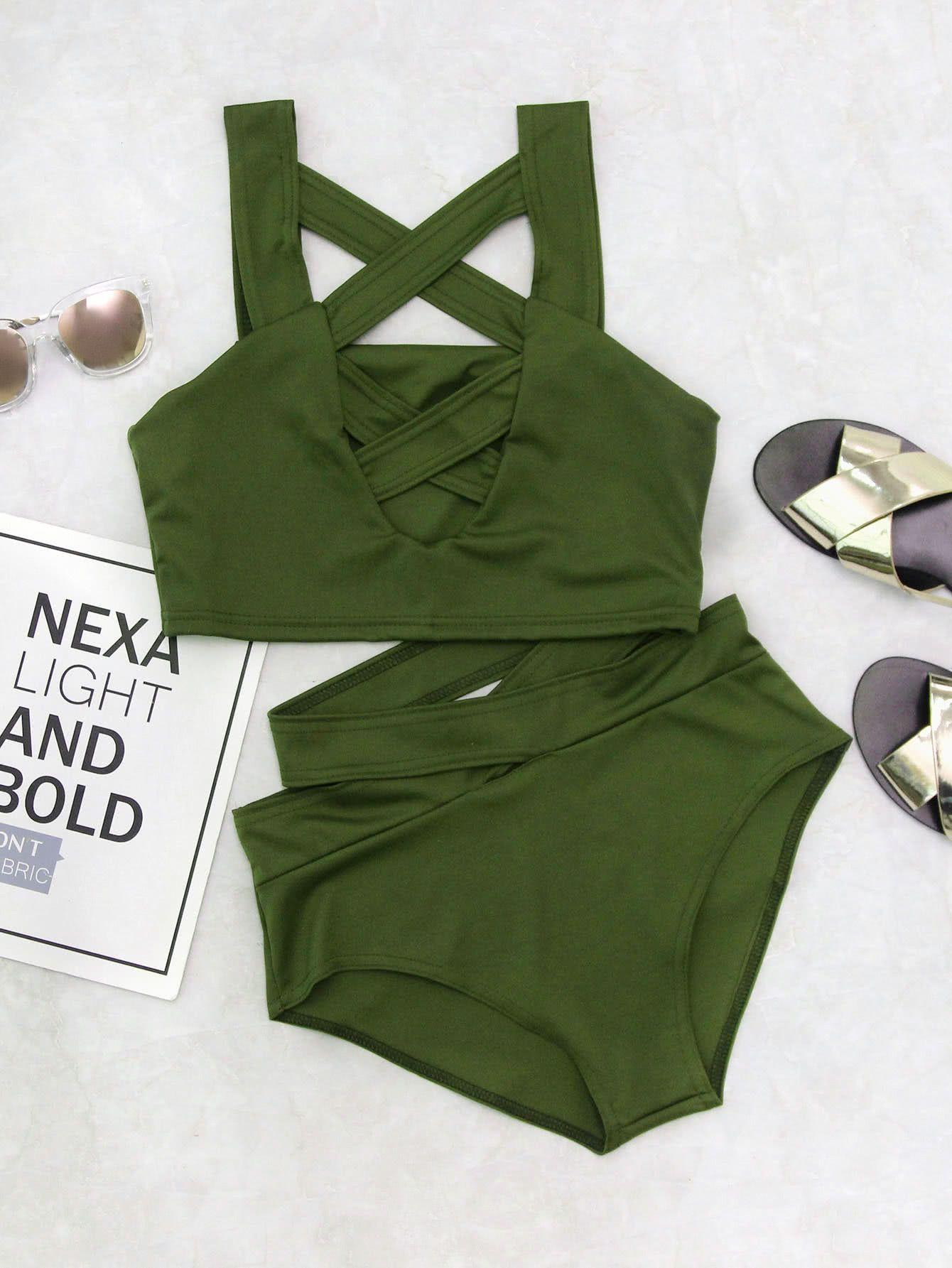 a9a340e2b6 Shop Criss Cross Cut Front High Waist Bikini Set online. SheIn offers Criss  Cross Cut Front High Waist Bikini Set & more to fit your fashionable needs.