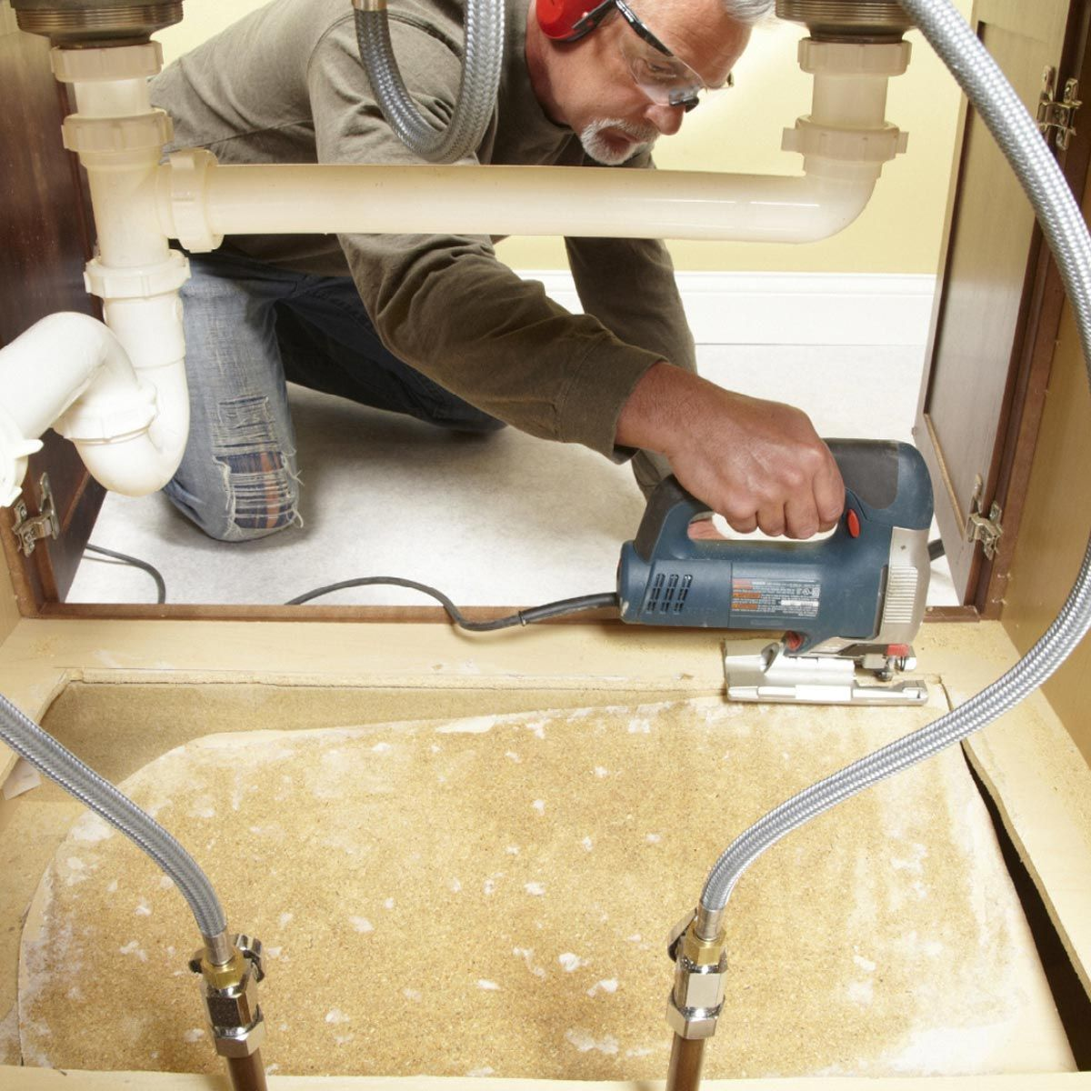 How To Replace A Sink Base Cabinet Floor Bathroom Sink Diy Diy