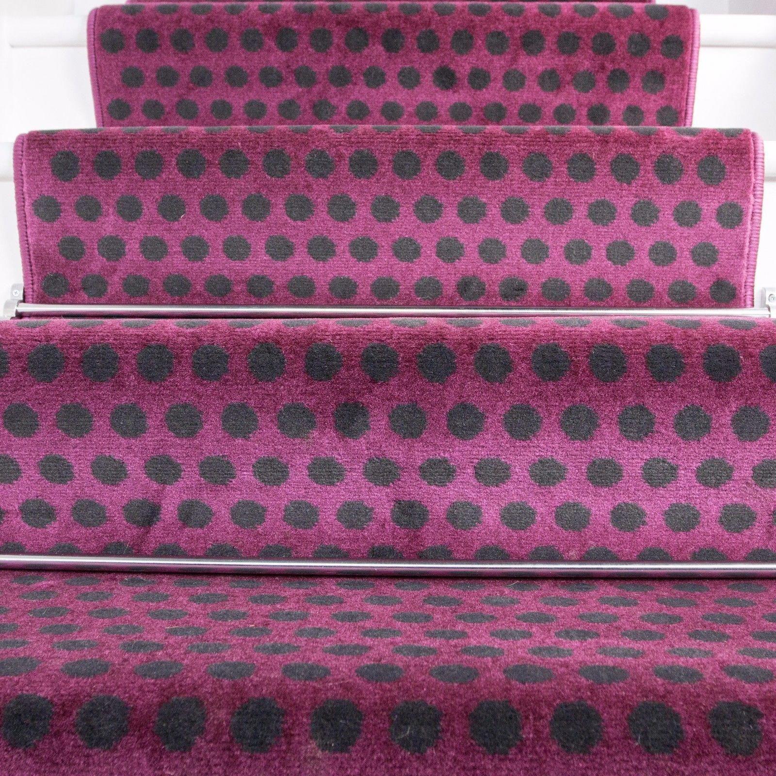Best £5 Gbp Modern Purple Polka Dot Stair Carpet Long Runner 400 x 300