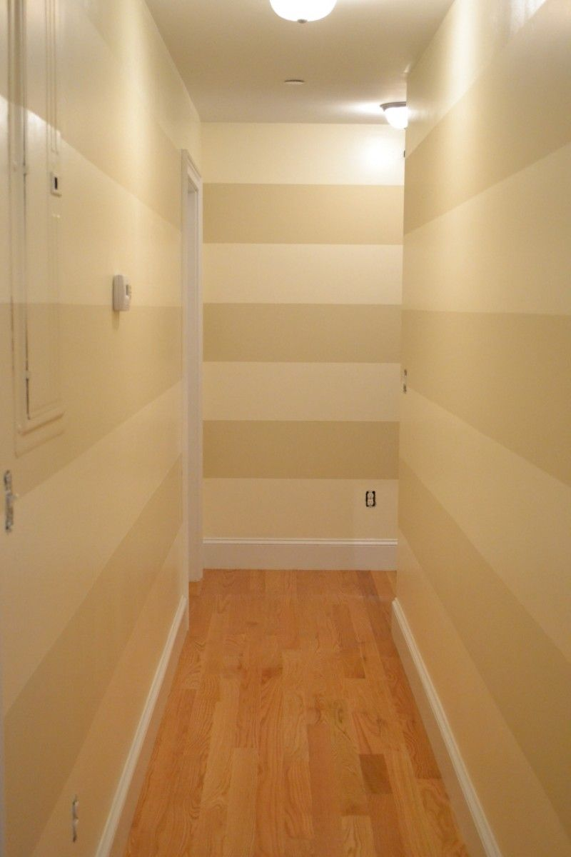 modern hallway decorated with horizontal stripes wall paper - 10 ...
