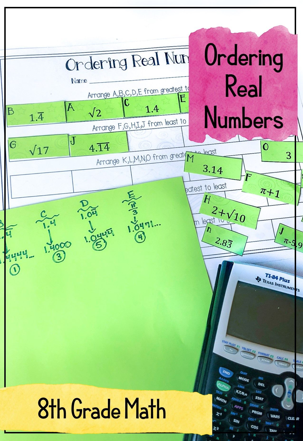Ordering Real Numbers Activity Rational And Irrational 8th Grade