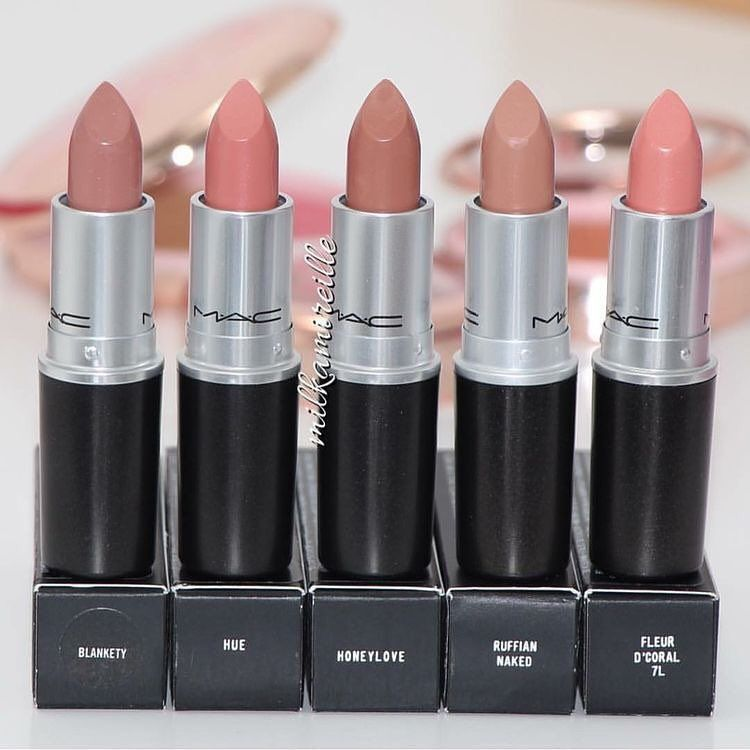 These 32 Gorgeous Mac Lipsticks Are Awesome - Blankety , Hue, Honeylove, Ruffianaked ,Fluer D'Coral 7L The perfect Nude Lipsticks #lipstick #mac #nudelip #maclipstick