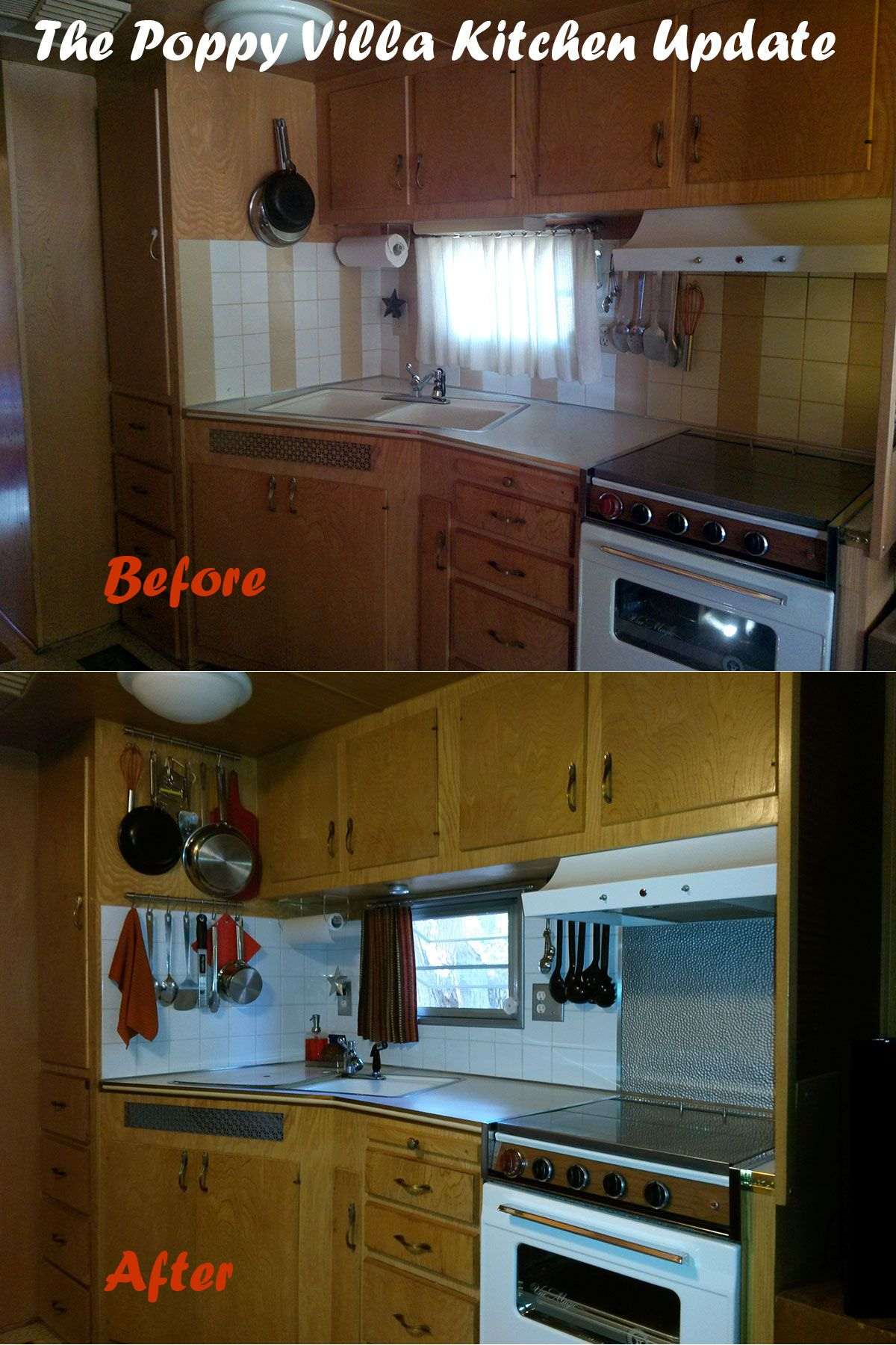 This is the first phase of the kitchen update in our vintage trailer