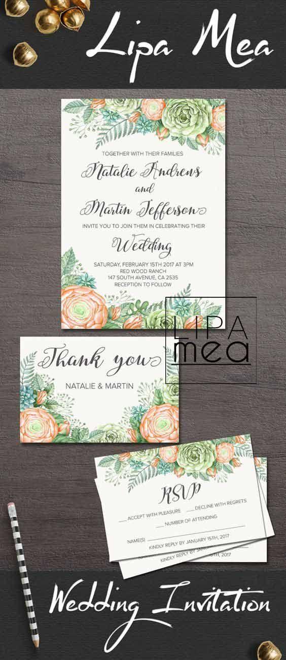 Wedding Invitation, Floral Wedding Invitation Set, Ranunculus ...
