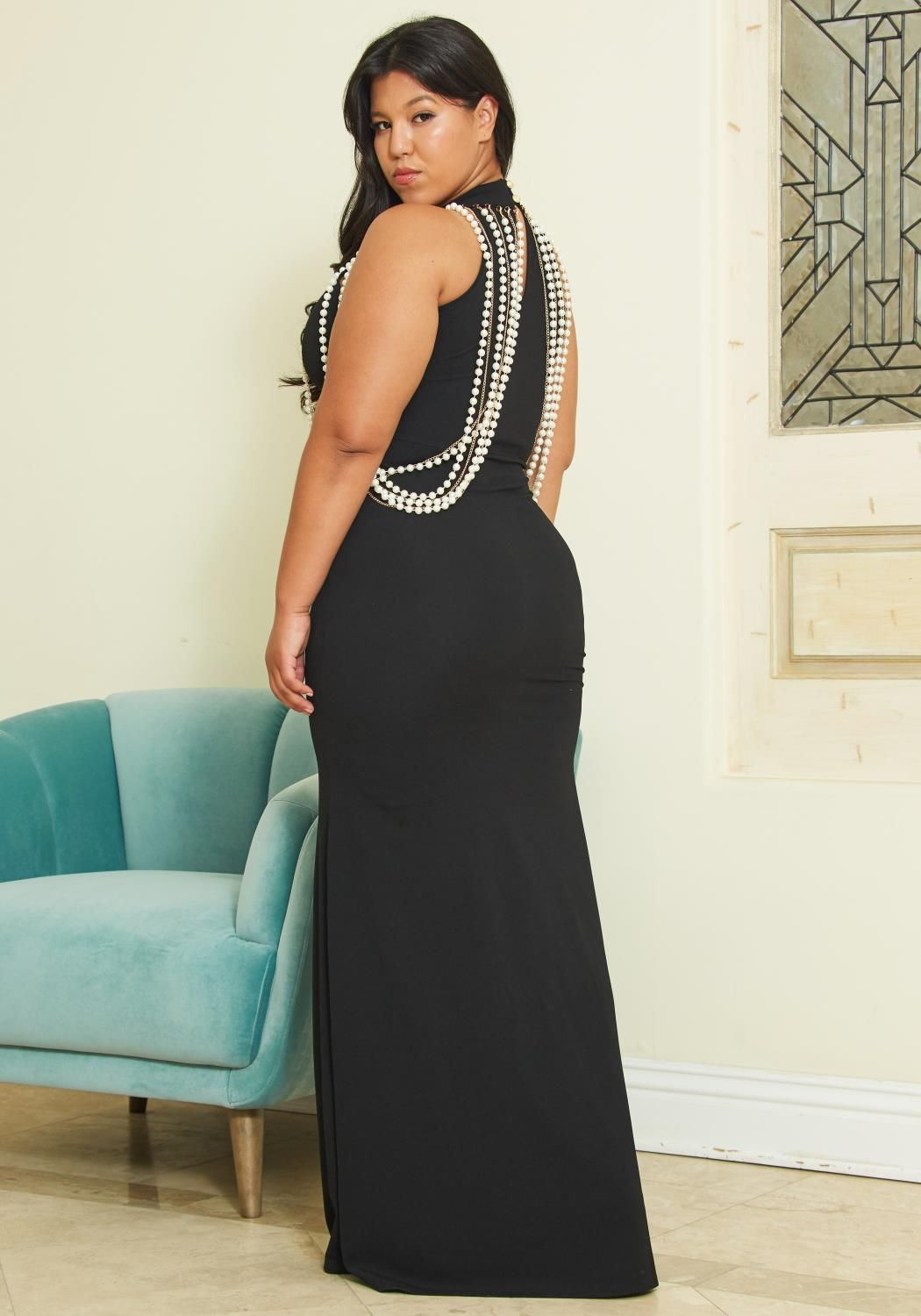 Asoph plus size pearl maxi evening dress in