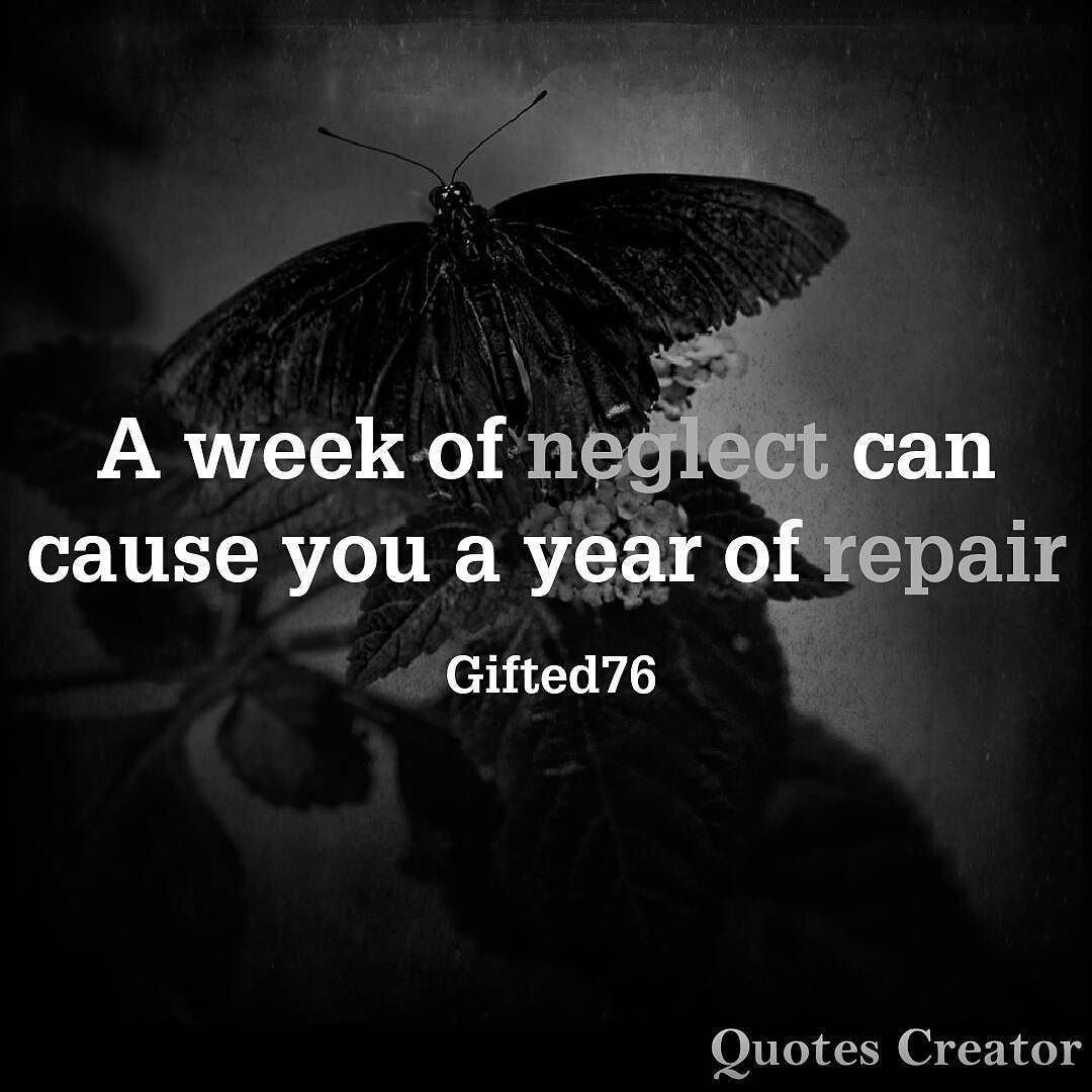 A Week Of Neglect Can Cause You A Year Of Repair Quote  Book