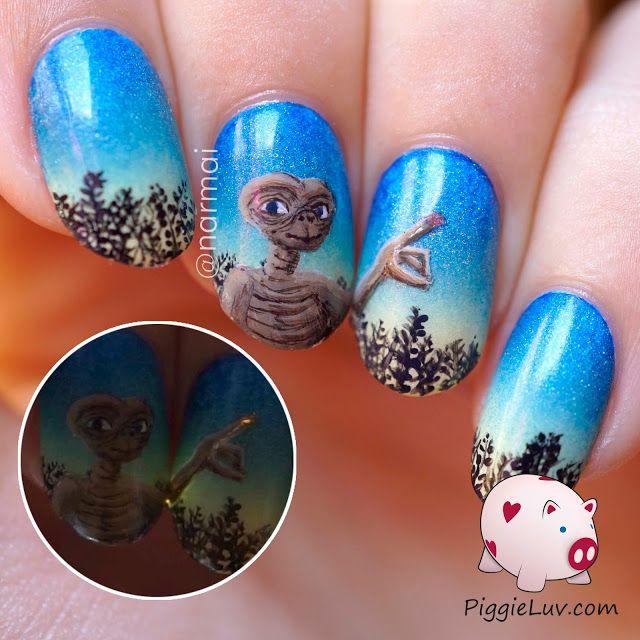 Piggieluv Galaxy Donuts Nail Art: E.T. Phone Home Nail Art With Fiber Optics!!