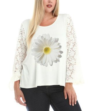 White Daisy Lace-Sleeve Scoop Neck Top - Plus