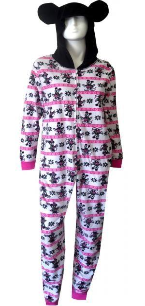 290f67bb37 WebUndies.com Disney s Minnie And Mickey On White Hooded One Piece Pajama