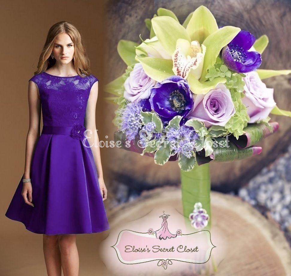 CASSIE Cadbury Purple Satin Lace Bridesmaid Knee Length Evening ...