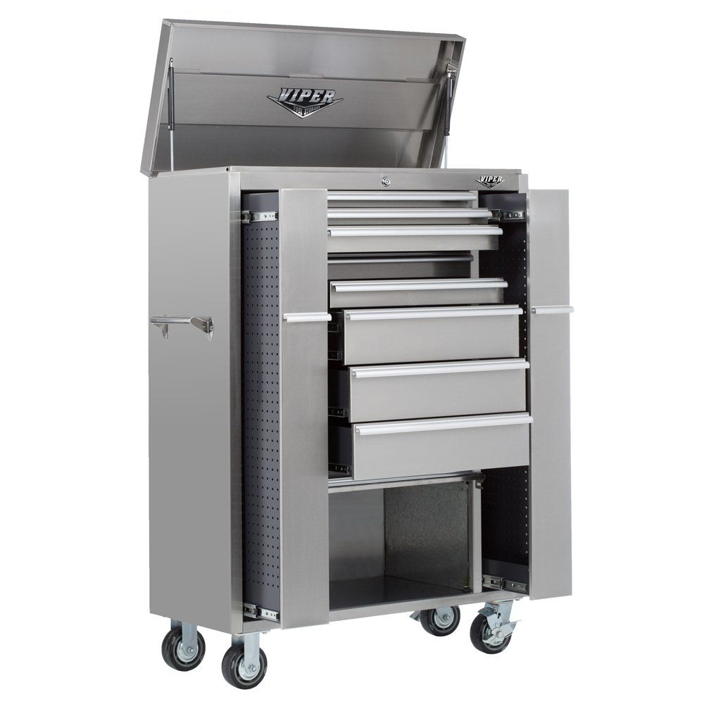 Viper Tool Storage V4108ubss 41 Inch 8 Drawer 18g Stainless Steel Rolling