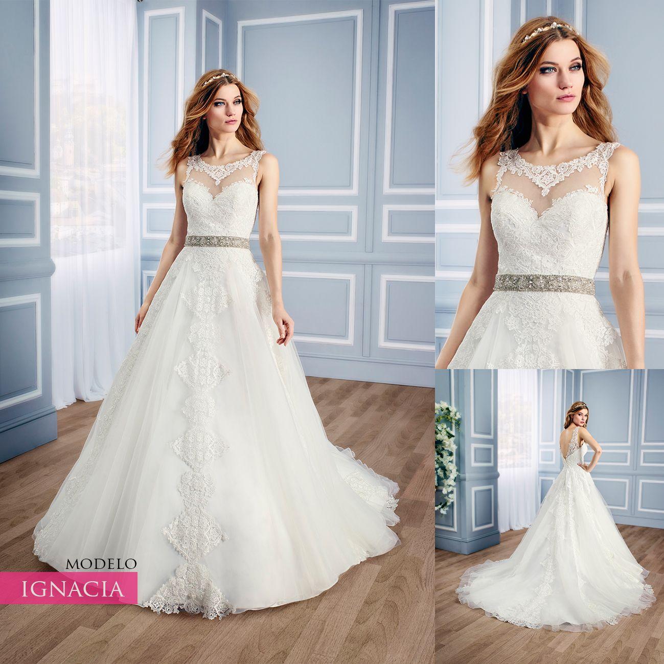 Vestido de novia corte en linea A, escote en forma de corazón ...