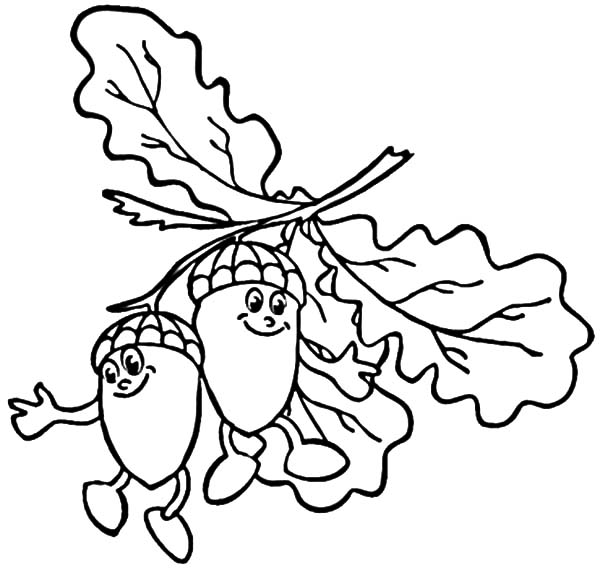 Smiling Acorn Coloring Pages : Coloring Sky (With images ...