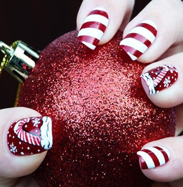 2013 Christmas Candy Cane Nails Christmas Candy Cane Nails Design