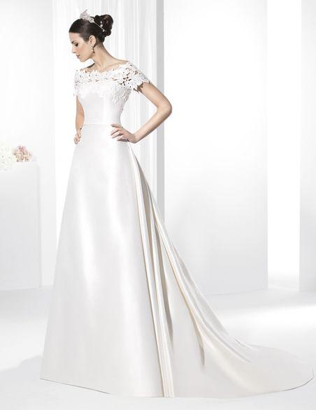 vestidos de novia corte clásico en mikado francés y con escote