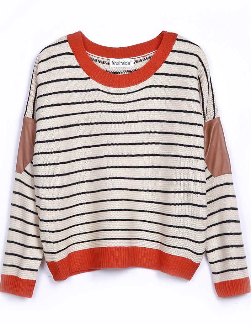 Beige Contrast Leather Long Sleeve Striped Sweater - Sheinside.com ...