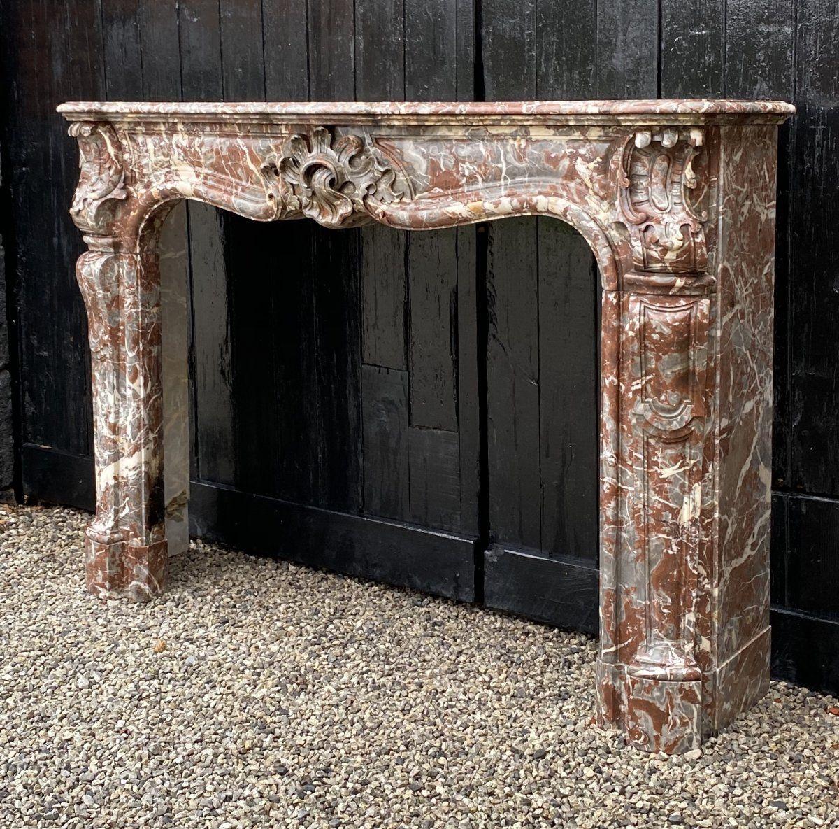 cheminee louis xv en marbre rouge de