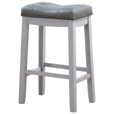 Andover Mills Mikhail Bar Counter Stool Seat Height Bar Stool 29 Seat Height Upholstery White Colour Grey Bar Stools Counter Stools Stool