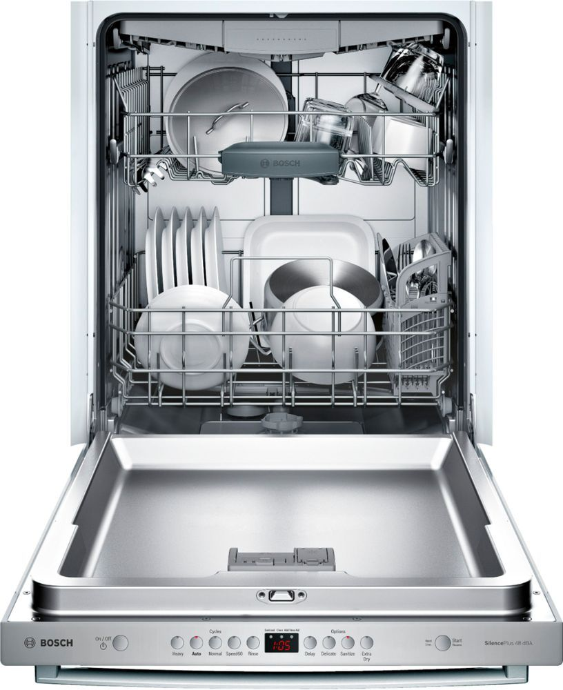 Bosch 100 Series 24 Top Control Built In Dishwasher With Stainless Steel Tub Stainless Steel Shxm4ay55n Best Buy Built In Dishwasher Steel Tub Bosch Dishwashers