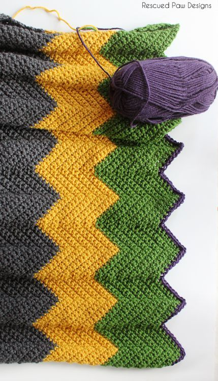 Colorful Chevron Crochet Blanket Pattern :: Rescued Paw Designs ...
