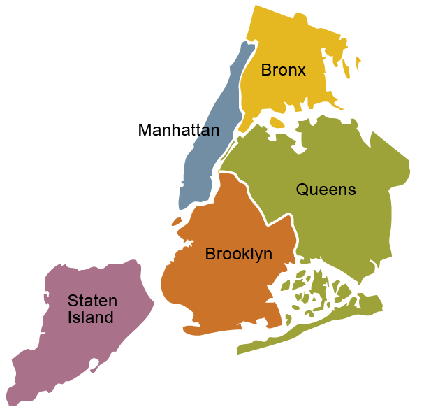 Map Of New York Five Boroughs.The Five 5 Boroughs Of New York City New York City The