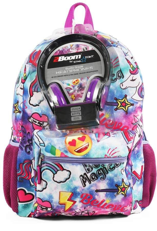 Kids Emoji Unicorn Backpack With Headphones Elisa Backpacks