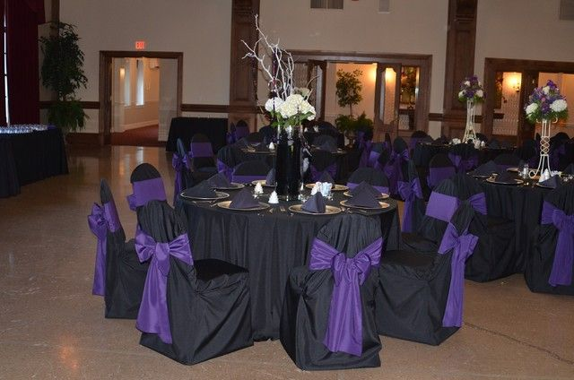 function accessories chair covers shabby chic kitchen cushions color schemes black table cloth purple ribbons gold full length linens and a sash tied