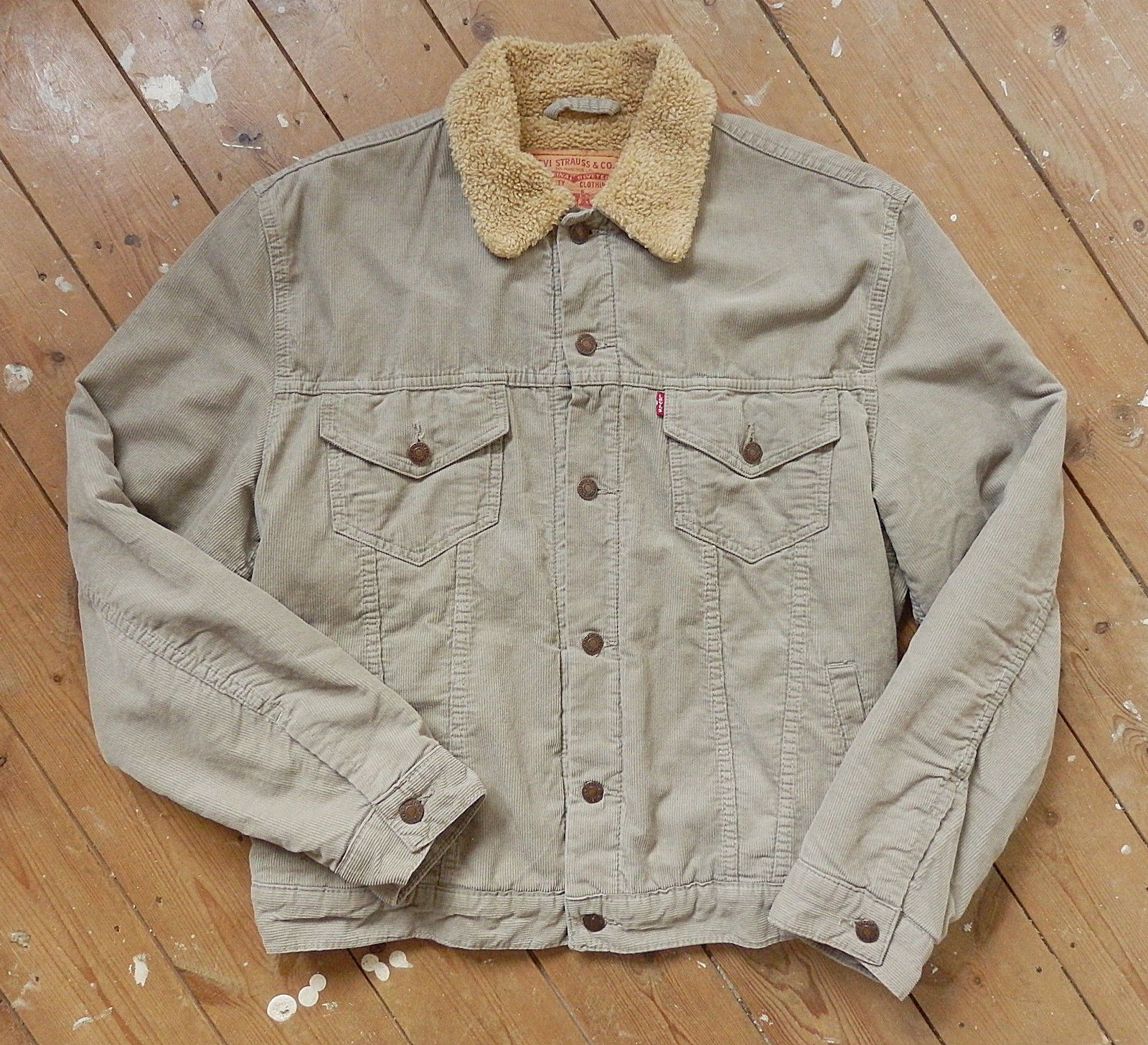 L Men s LEVIS 71550 beige cord SHERPA jacket fur lined   fashion ... f92e6f0893