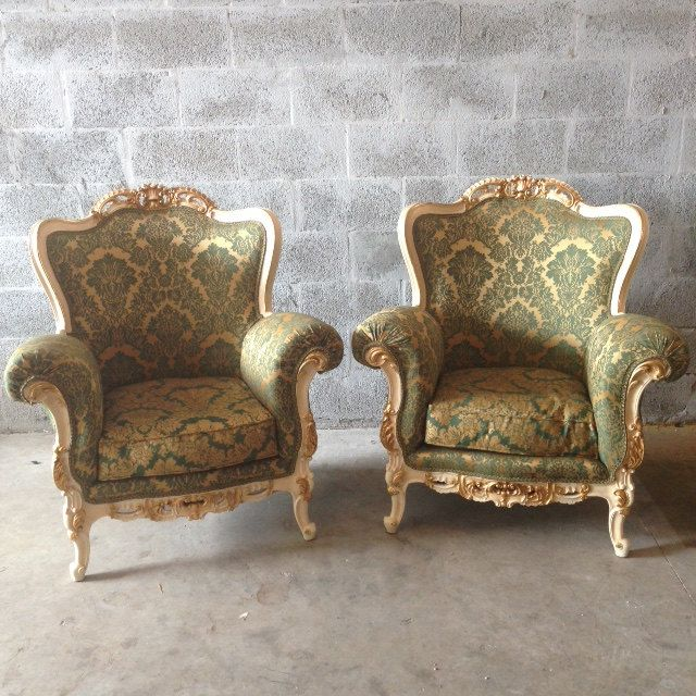 Antique Italian Baroque Chairs Fauteuil Bergere Wingback Orignal Creme  Frame Gold Leaf Upholster Green Rococo Louis - Antique Italian Baroque Chairs Fauteuil Bergere Wingback Orignal