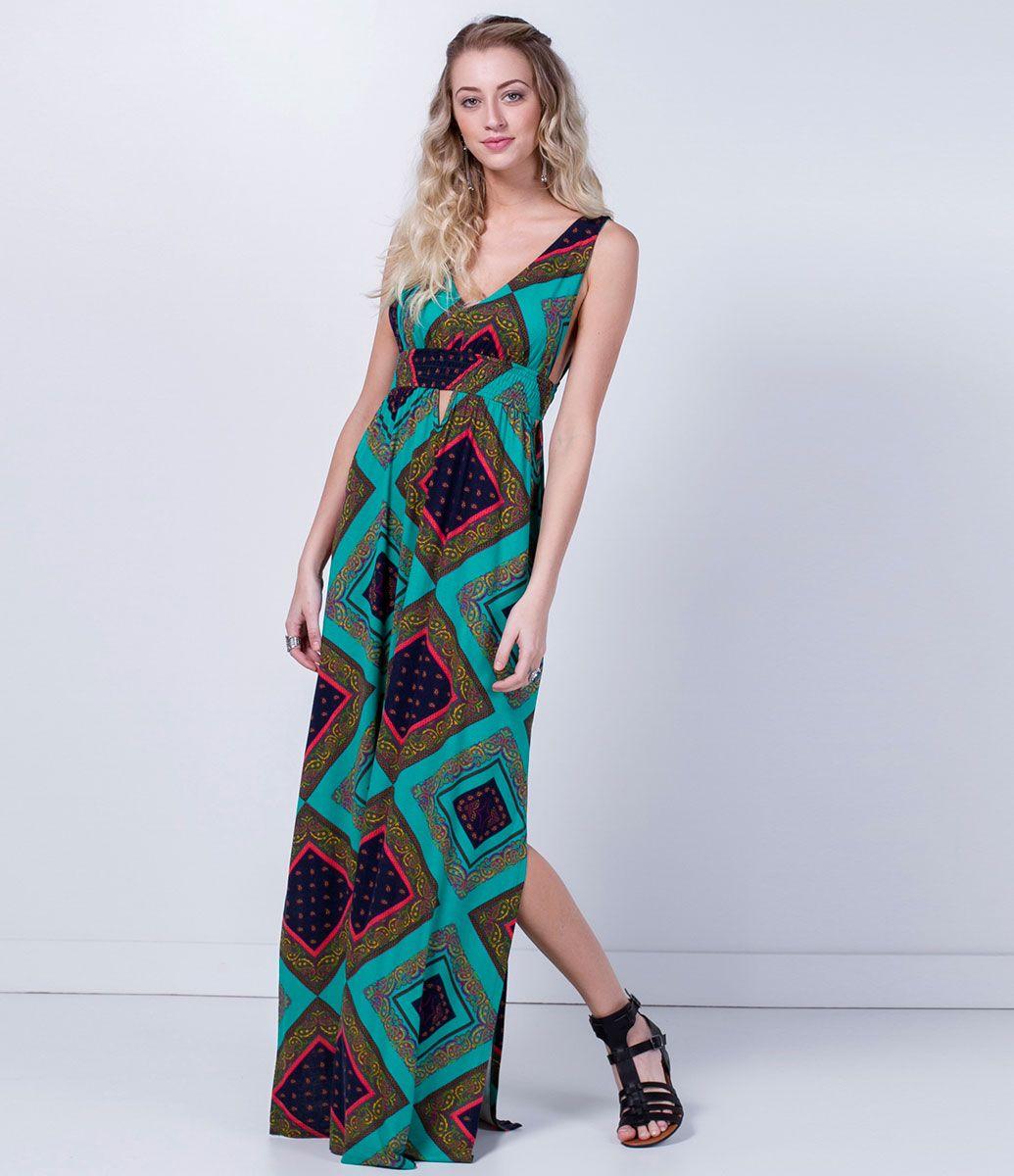 Vestido longo verao com fenda