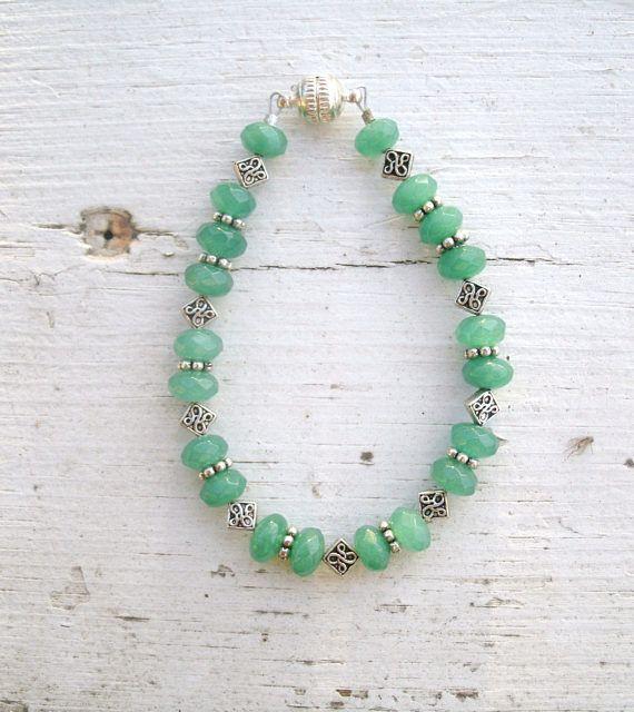 ON SALE  Jade Gemstone Beaded Bracelet  green with silver