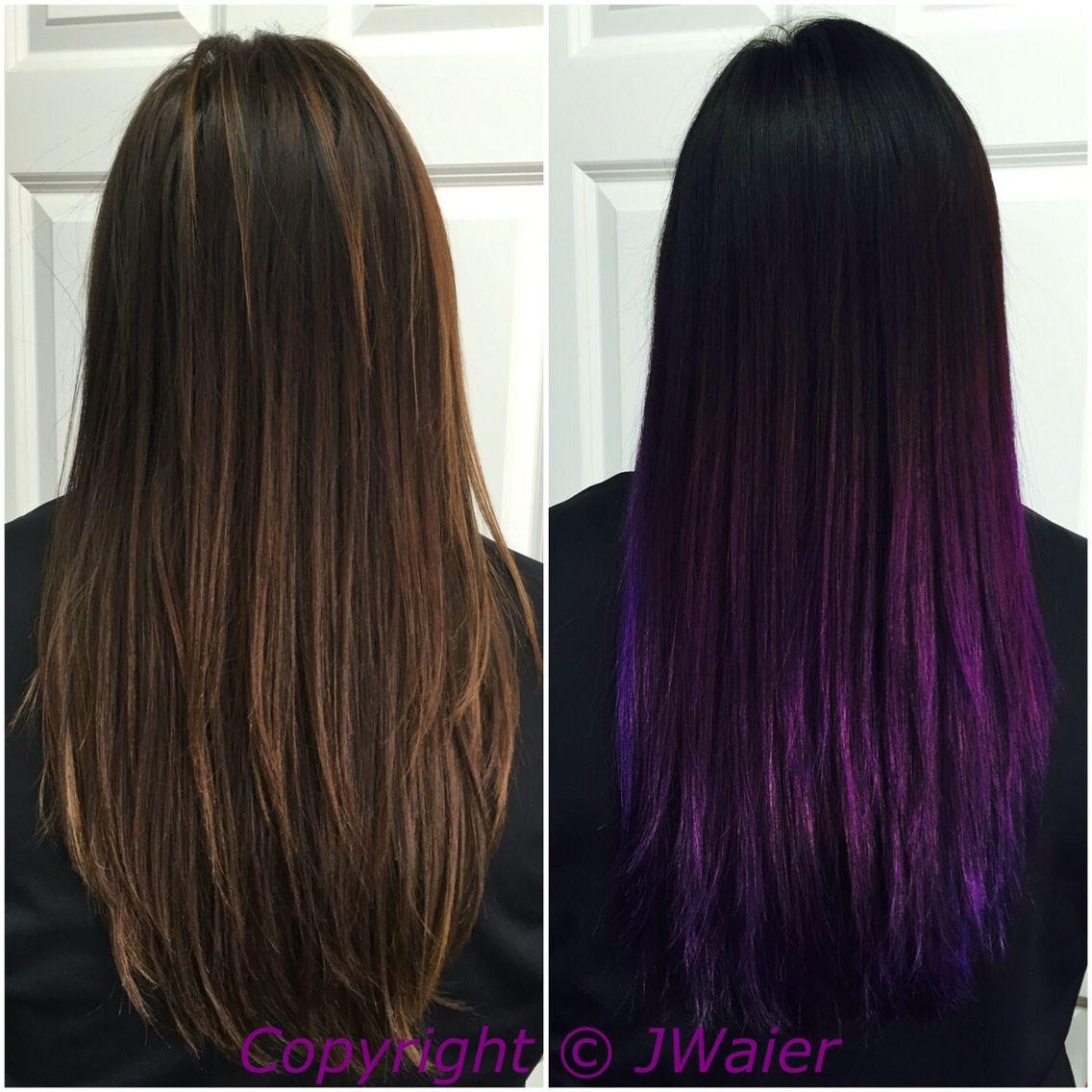 Black To Violet Ombr Using Pravana Vivids Black Hair Pinterest