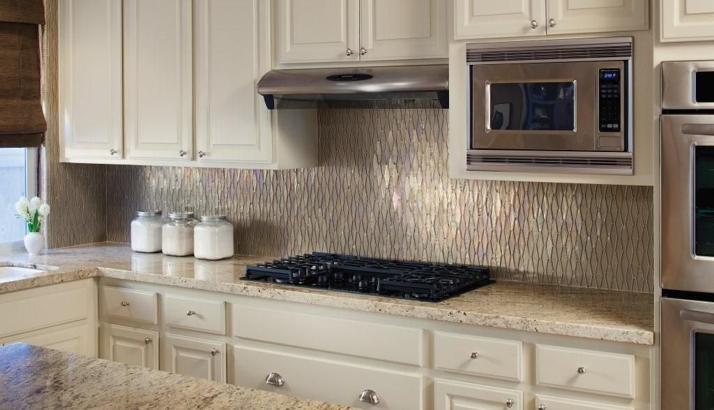Kitchen Backsplash Glass Tile Design Ideas farmhouse sink area in cottage kitchen Kitchen Backsplash Odd Shape Tile Yet To Come Across This Diamond Iridescent Backsplash Anyone Seen It For The Home Pinterest Glass Tiles Glass