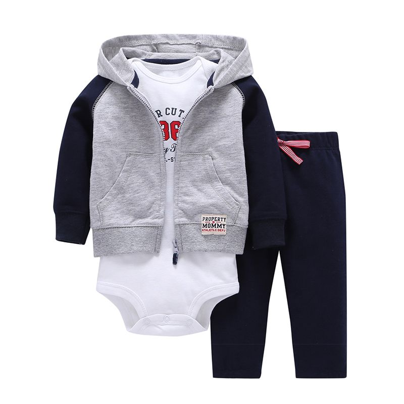 e56594dfb9f0 Click to Buy    2017 Baby Boy girl Clothes Sets 1 hooded zipper coat ...