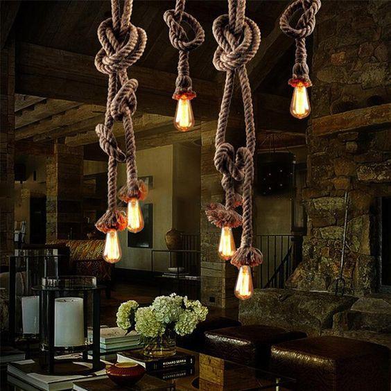 Vintage Rope Iron Ceiling Pan Pendant Lights Retro Industrial Loft Bar Hemp Rope Lamp Fixtures Lamparas Colgantes Lumin Diy Chandelier Rope Lamp Ceiling Lights