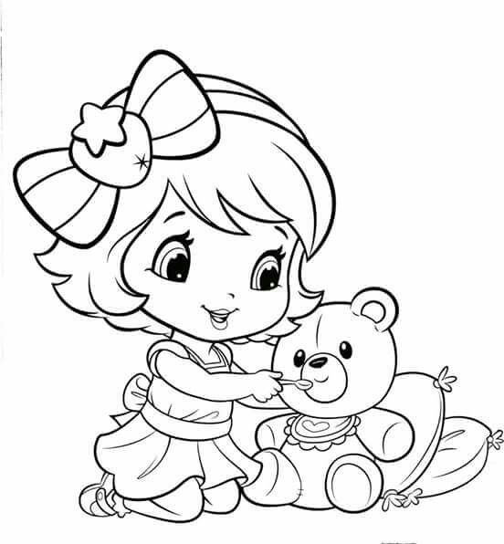 Young Strawberry Shortcake Cartoon Coloring Pages Strawberry