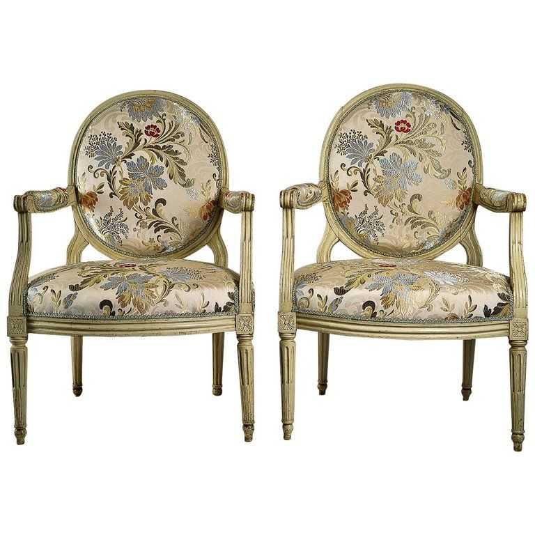 French Louis Xvi Period Lacquered Beechwood Pair Of Large Armchairs Circa 1780 Large Armchair Armchair Louis Xvi Furniture