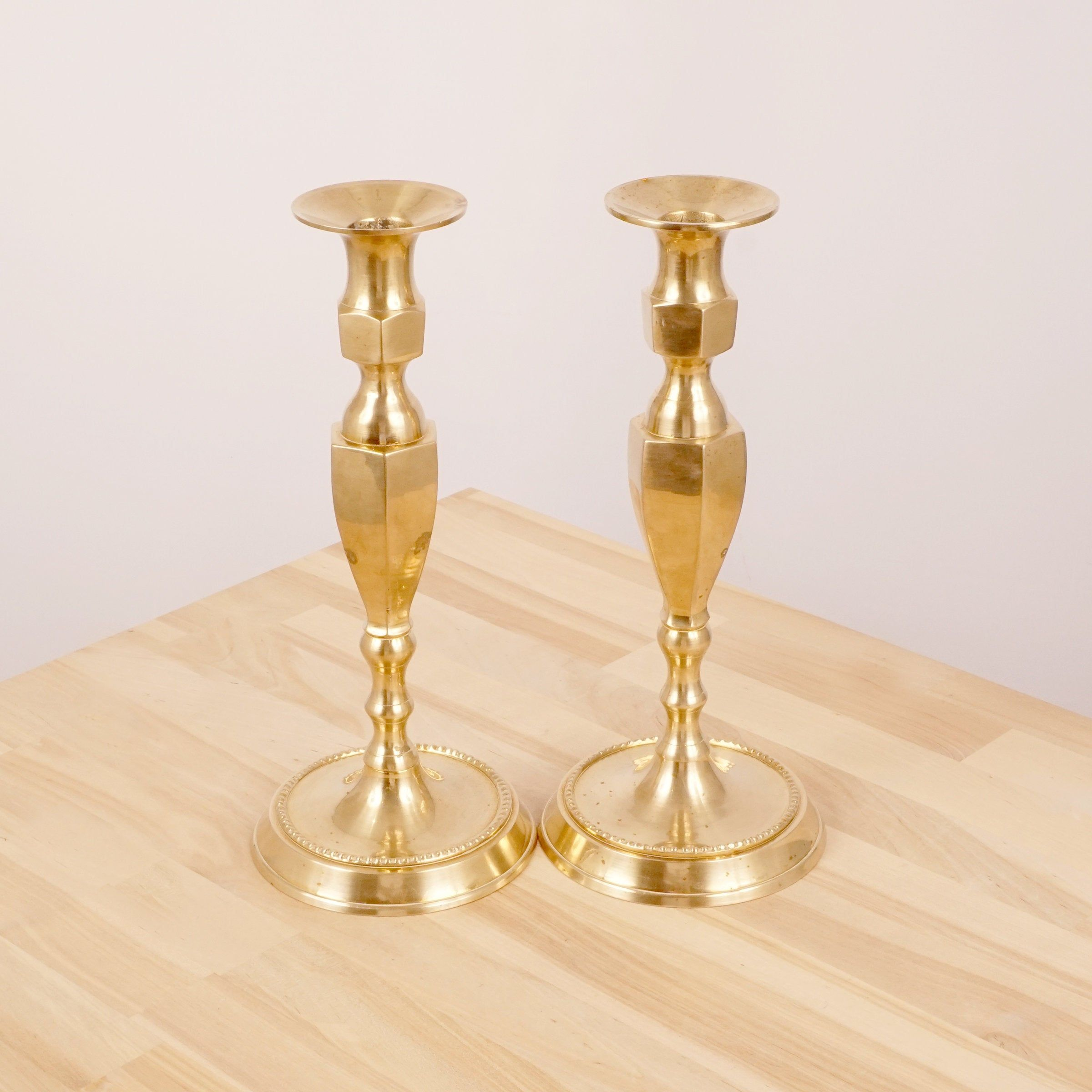 Heavy candle holders Candle  Candlestick holders Antique solid brass set of two