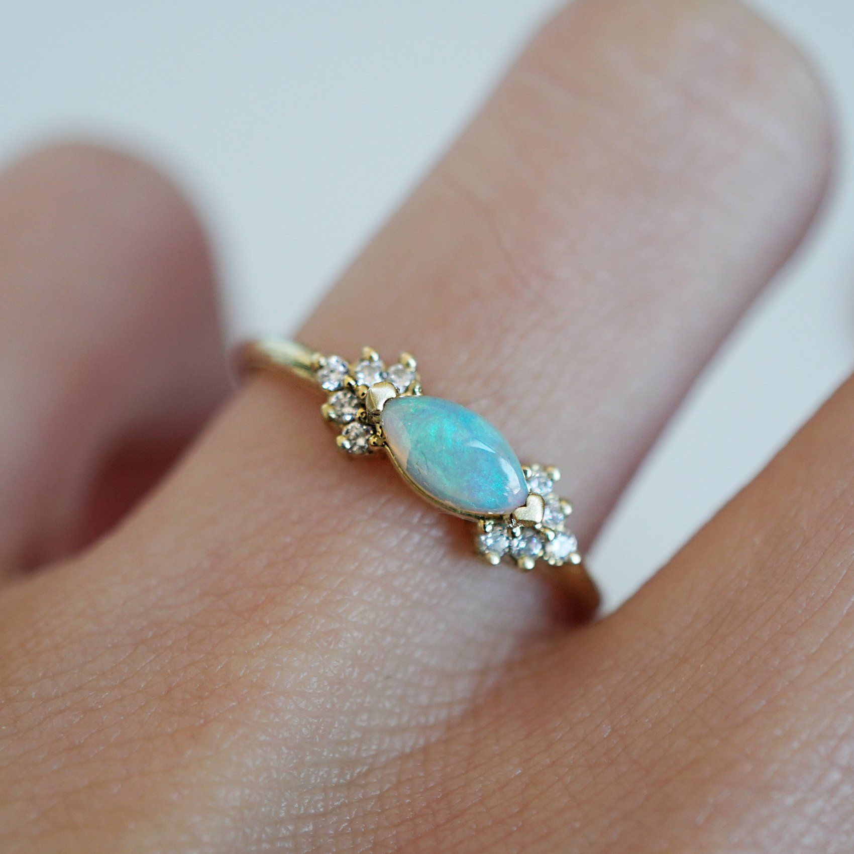 14K Australian Opal Marquise Ring Marquise ring, Vintage