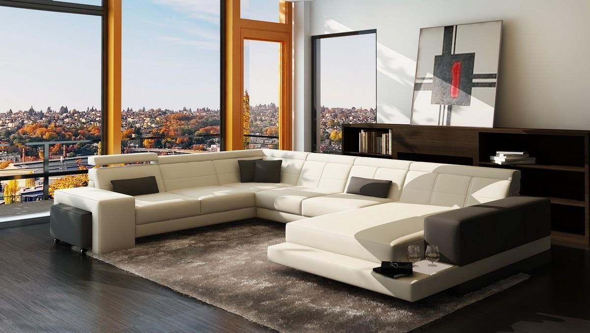 Edge Moderna White And Grey Bonded Leather Sectional Sofa  # Muebles Kasa Design