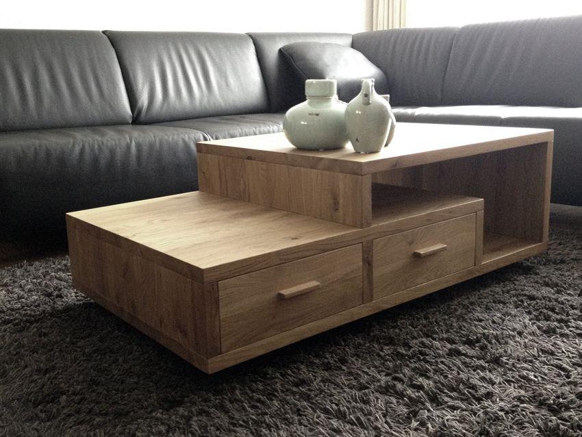 Massief eiken salontafel met lade bax meubelsbax salontafels