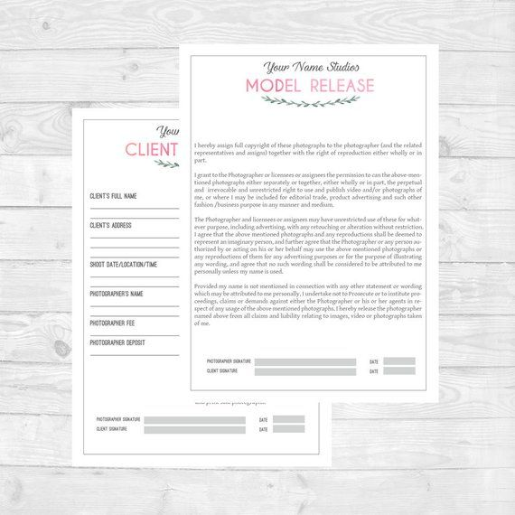 General Contract  Model Release Form for Photographers PSD - photographer release form