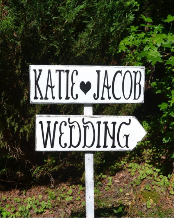 Large Wedding Signs Directional Rustic Personalized Arrow This Way Pointer Custom Wood Outdoor Yard Signage Reception Weddings Sign
