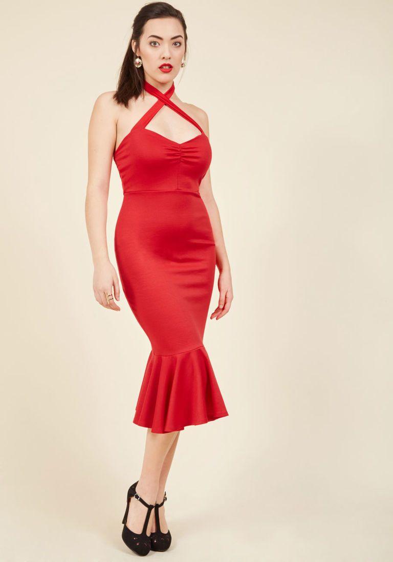 Spectacular Samba Sheath Dress in Crimson