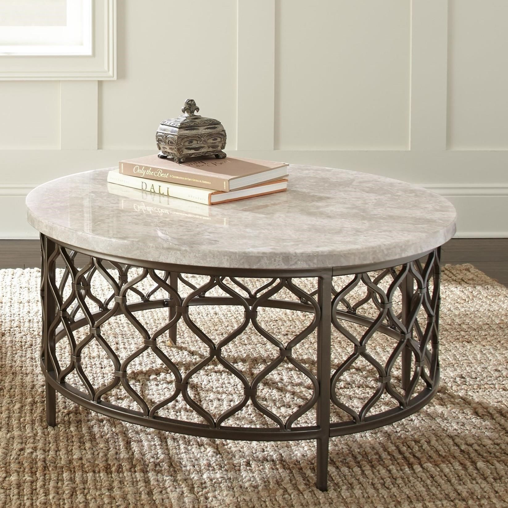 Roland Stone Top Cocktail Table By Steve Silver Stone Coffee Table Round Coffee Table Coffee Table Wood [ 1646 x 1646 Pixel ]