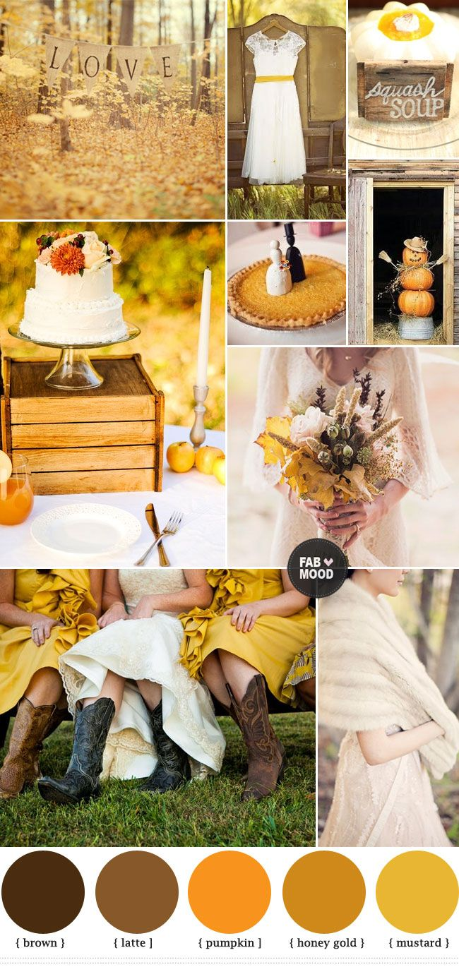 Mustard And Brown Wedding Colours Wedding Color Palettes