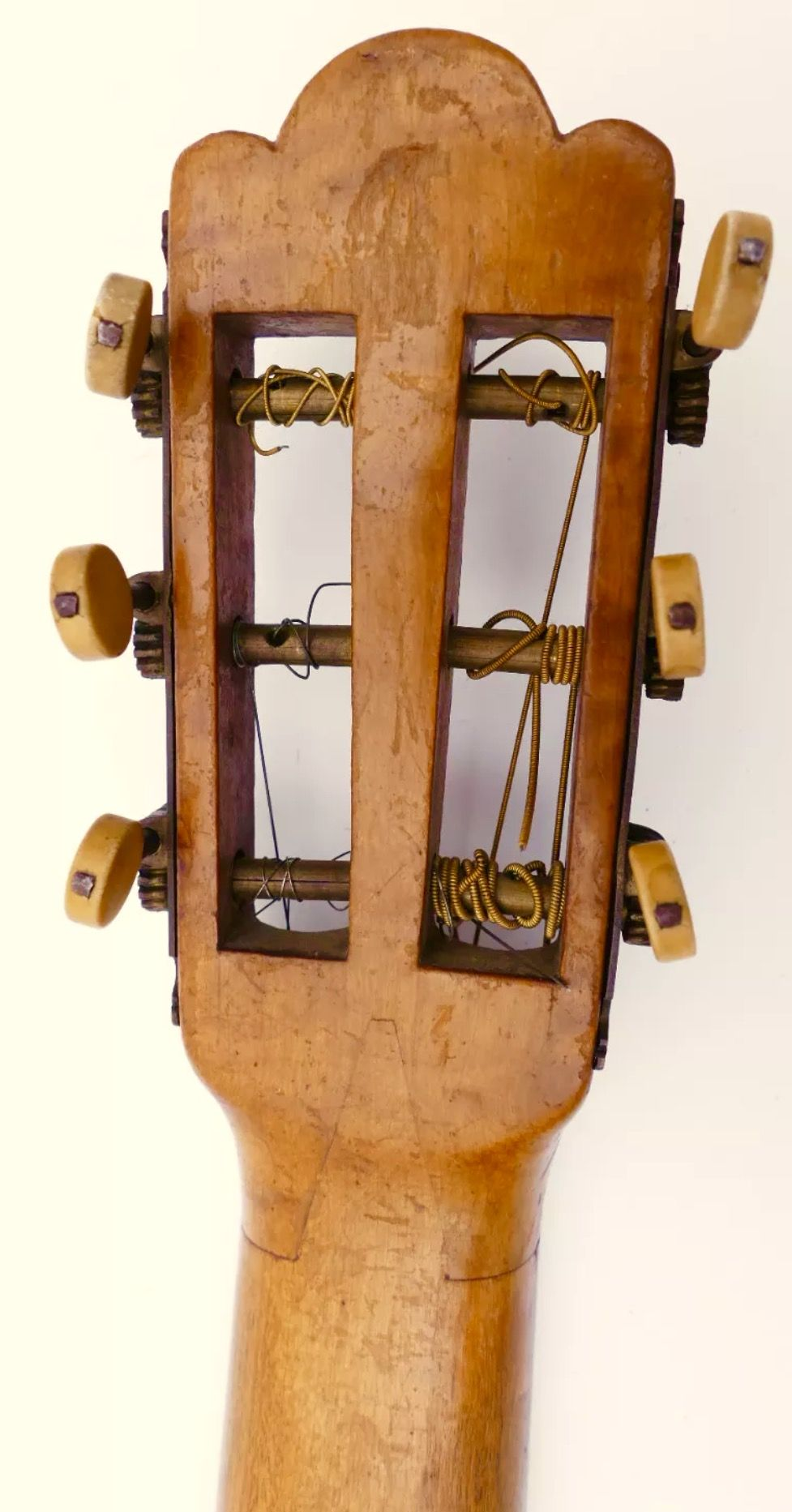 Old German Parlor Guitar Headstock/ Neck Joint Guitar