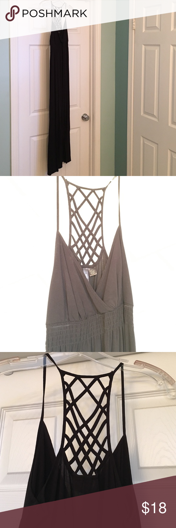 Black Maxi Dress Black maxi dress with empire waist and lattice back detail.  Lightweight and perfect for summer nights.  Like new.  From clean, smoke free home. Full Tilt Dresses Maxi
