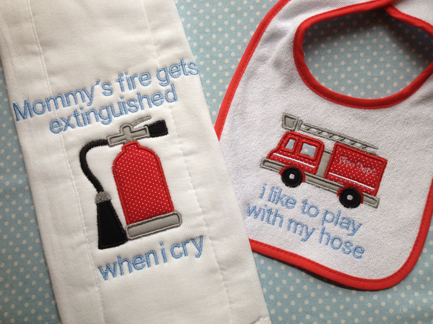 Baby Burp Cloth With Funny Expression Saying: Funny Baby Bib And Burp Cloth. Fireman Themes! I Like To
