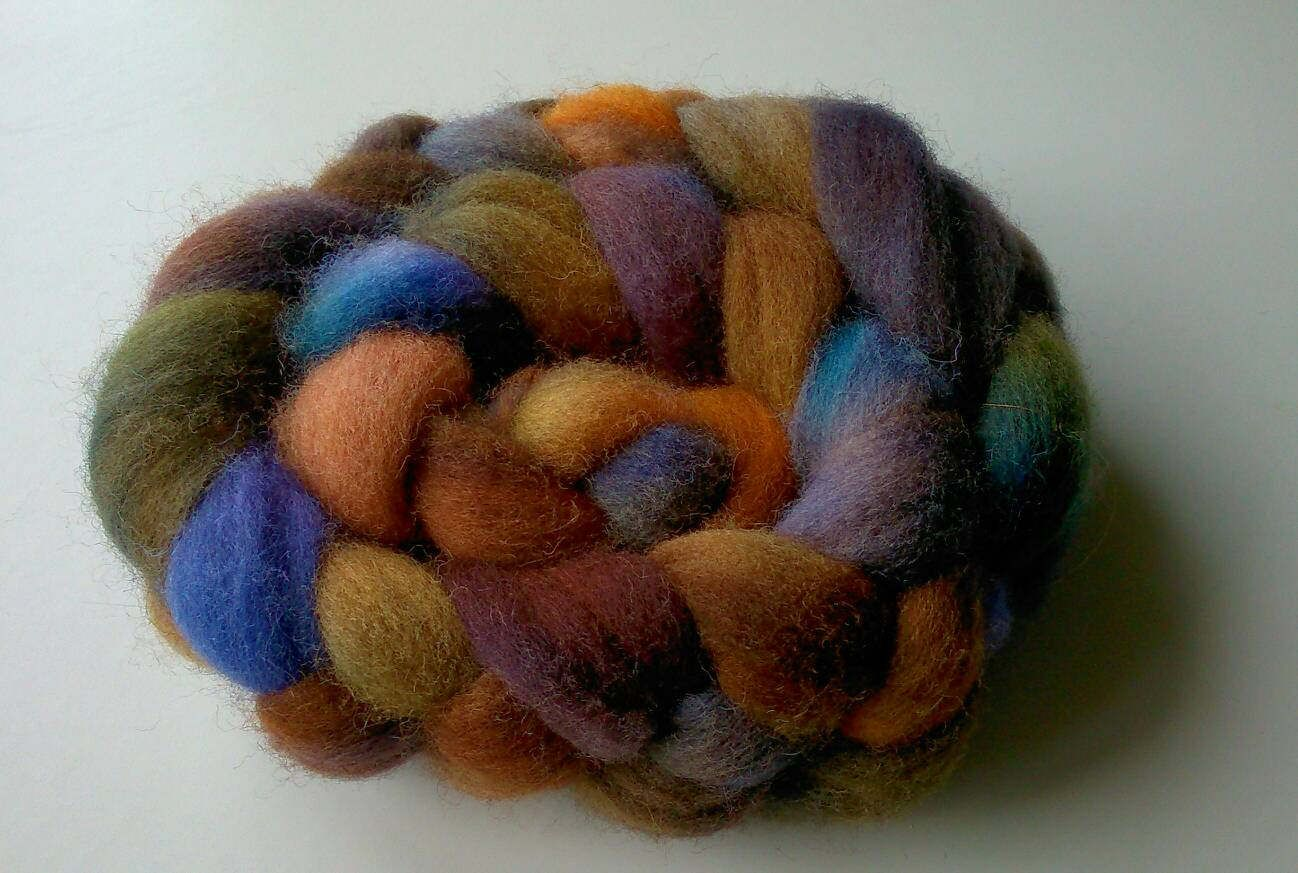 Purple Paw hand painted Rare Breed Dorset Horn roving wool